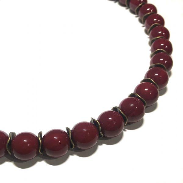 burgunder-rød-bronse-smykke-halskjede