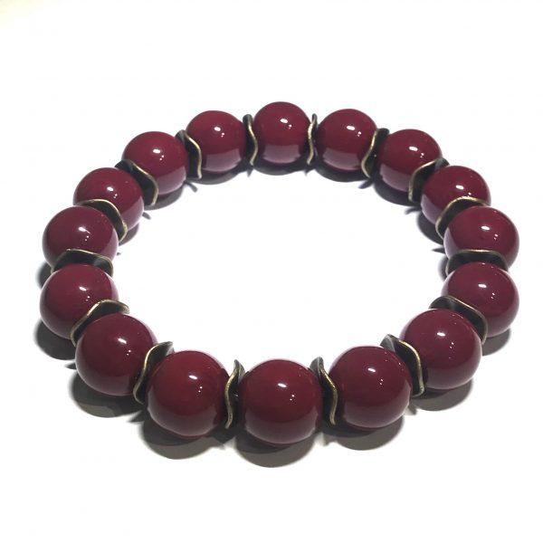 burgunder-rød-bronse-elastisk-armbånd