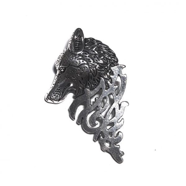 sølv-ulv-brosje-nål