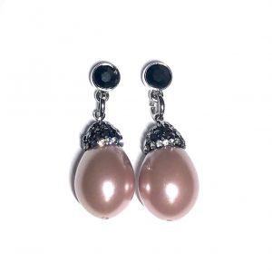 sølv-rosa-perle-bling-øredobber-ørepynt-øreanheng