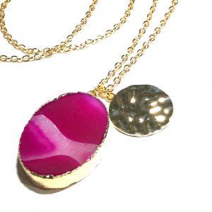 rosa-agat-gull-smykke-halskjede