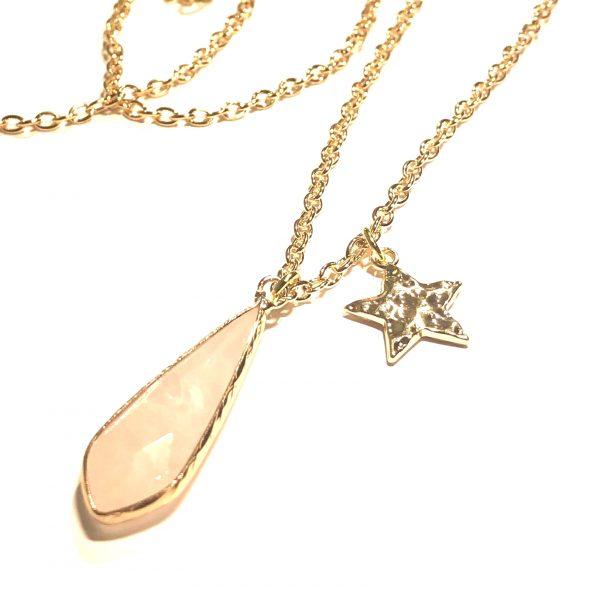 rosa-rosenquartz-stjerne-gull-smykke-halskjede
