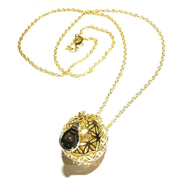 sort-glass-dråpe-kule-smykke-halskjede