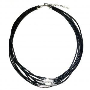 tøff-sort-gummi-sølv-tube-smykke