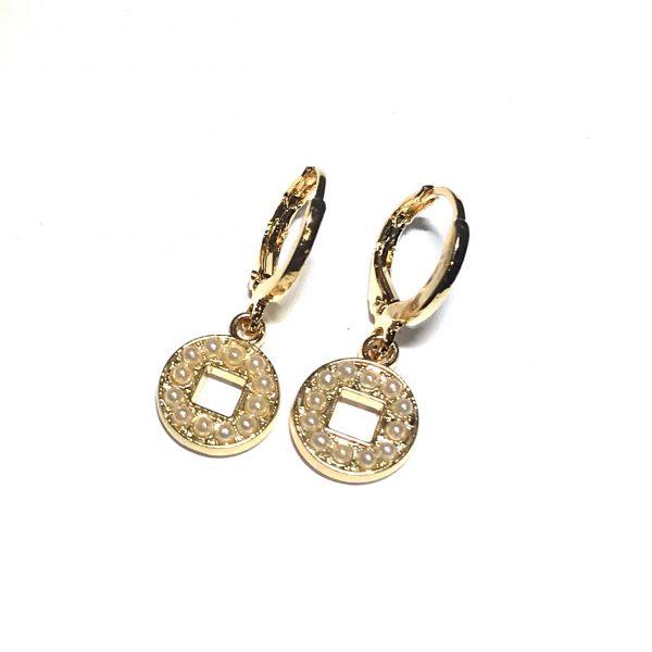 gull-perle-øreringer-ørepynt