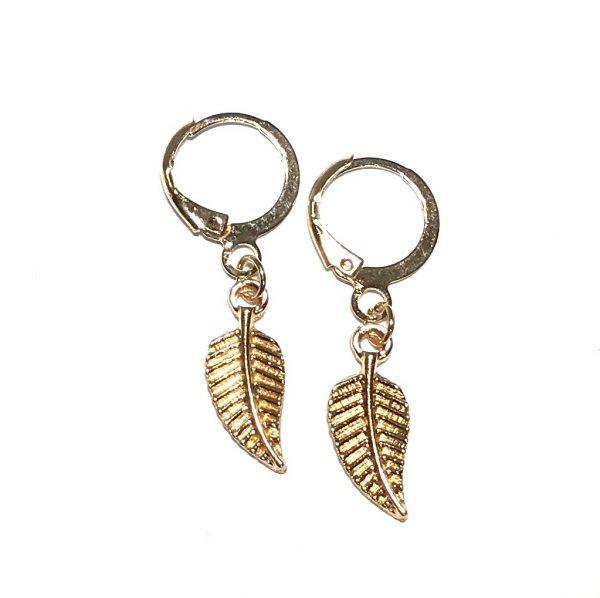 gull-blad-løv-ørering-ørepynt