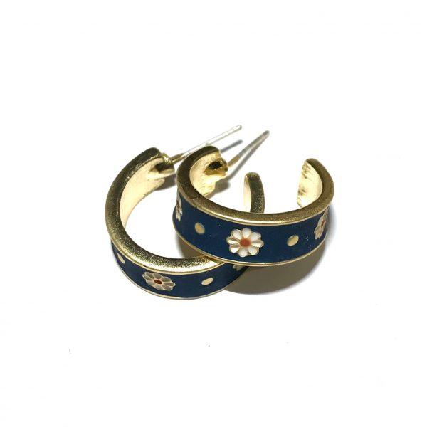 sterling-sølv-gull-blå-blomst-øreringer-ørepynt