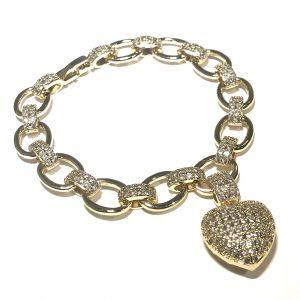 gull-bling-glitter-hjerte-armbånd