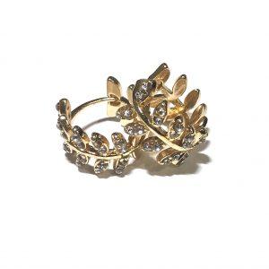 gull-løv-bling-glitter-øreringer-ørepynt
