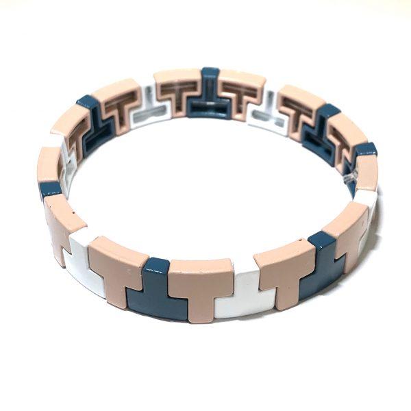 rosa-hvit-blå-elastisk-armbånd
