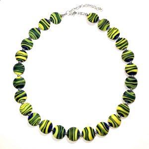 grønn-gul-glass-smykke-halskjede