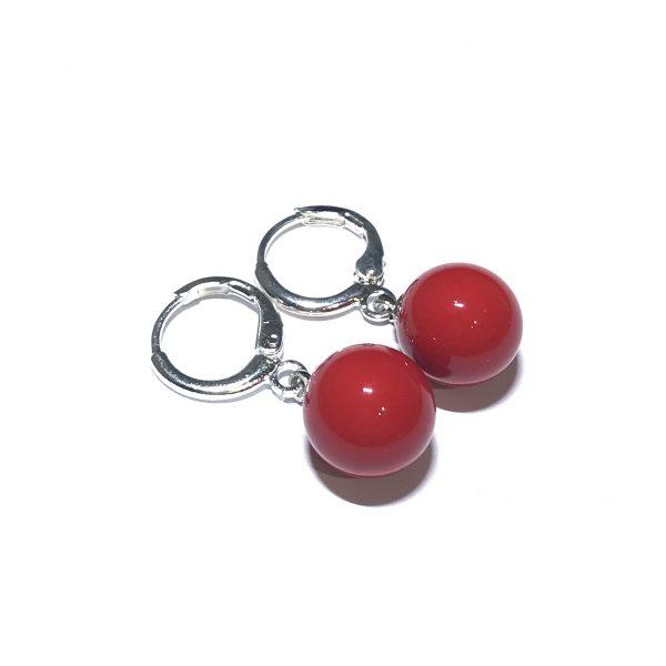 sølv-rød-kule-øreringer-ørepynt