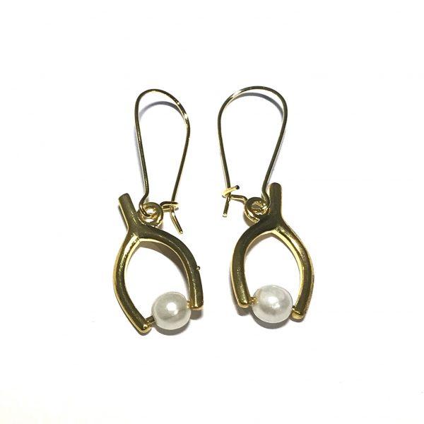 gull-perle-ønskebein-ørepynt-øreanheng