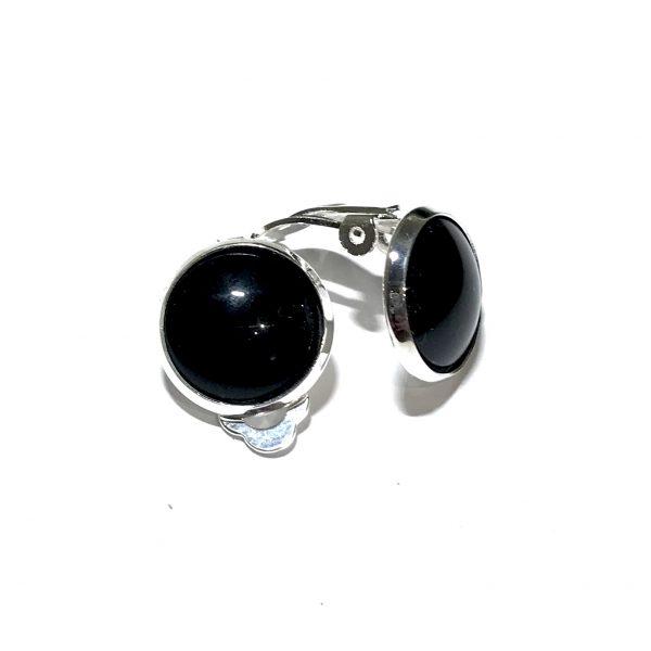 sølv-sort-øreklips-klips-ørepynt-øredobber