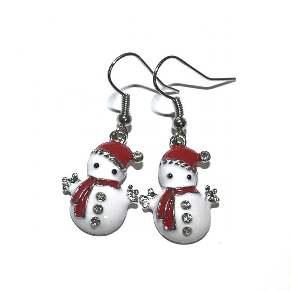 hvit-snømann-jul-øreanheng-ørepynt