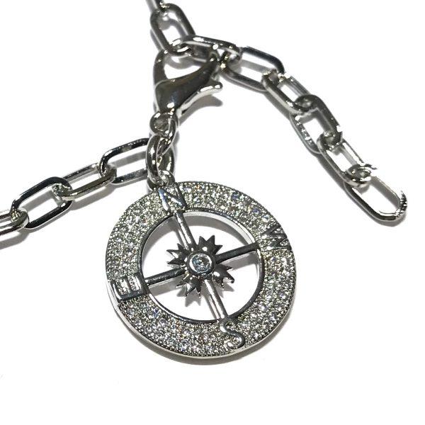 sølv-bling-kompass-kompassrose-armbånd