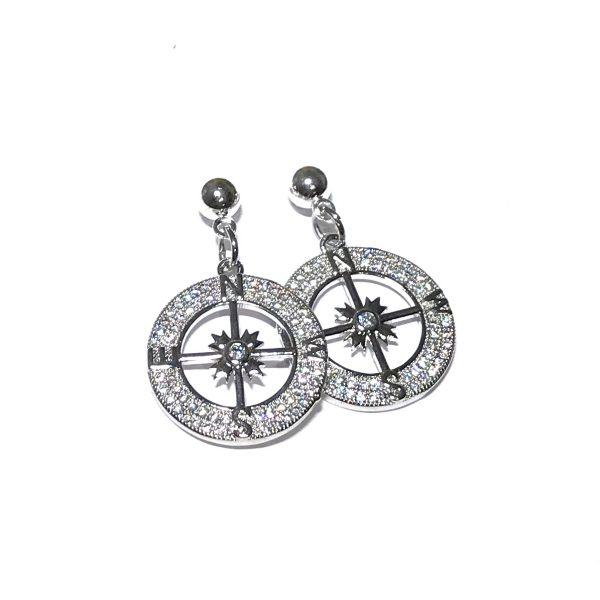 sølv-bling-kompass-kpompassrose-øreanheng-ørepynt