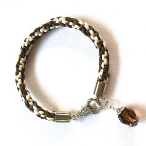 brun-swarovski-krystall-silke-snor-kumihimo-flettet-armbånd