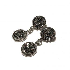 grå-glitter-stål-øredobber-øreanheng-ørepynt