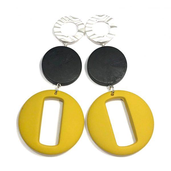 gul-sort-tøff-statement-øreanheng-ørepynt