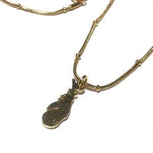 gull-stål-fjær-smykke-halskjede