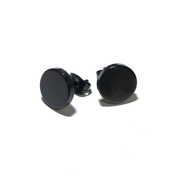 sort-stål-flat-øredobb-ørepynt