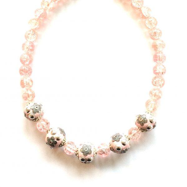 halskjede-smykke-glassmykke-rosa
