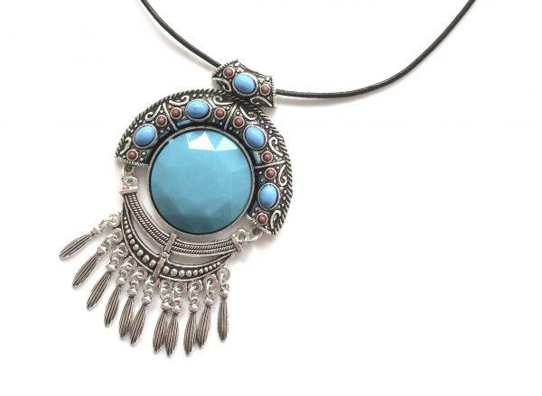 turkis-boho-smykke-halskjede
