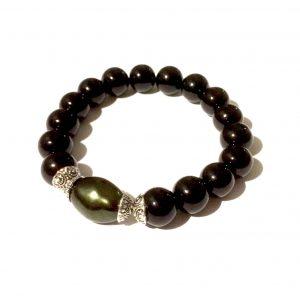 sort-grønt-perle-armbånd