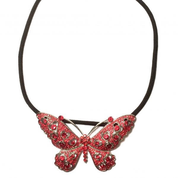 halskjede-smykke-sommerfugl-rød
