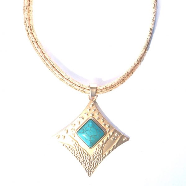 rosegull-smykke-halskjede-lær