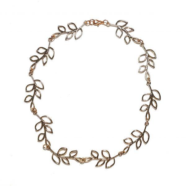 rosegull-blad-smykke-halskjede