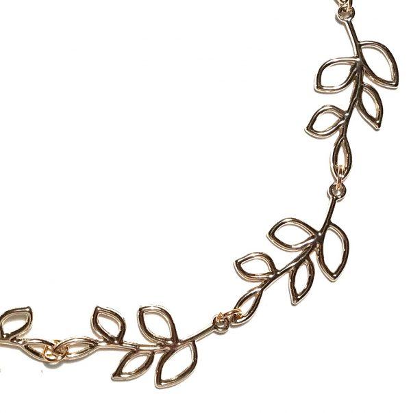 blad-smykke-halskjede-rosegull