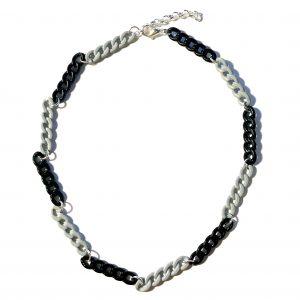 smykke-halskjede-kjede-lenke-sort-grå