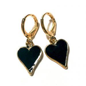 hjerte-øredobber-ørepynt-sort