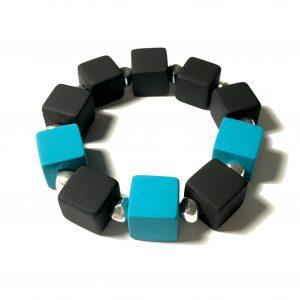 elastisk-armbånd-turkis-sort