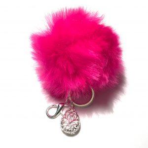 knall-rosa-pels-dusk-nøkkelring