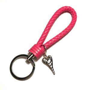 rosa-hjerte-nøkkelring