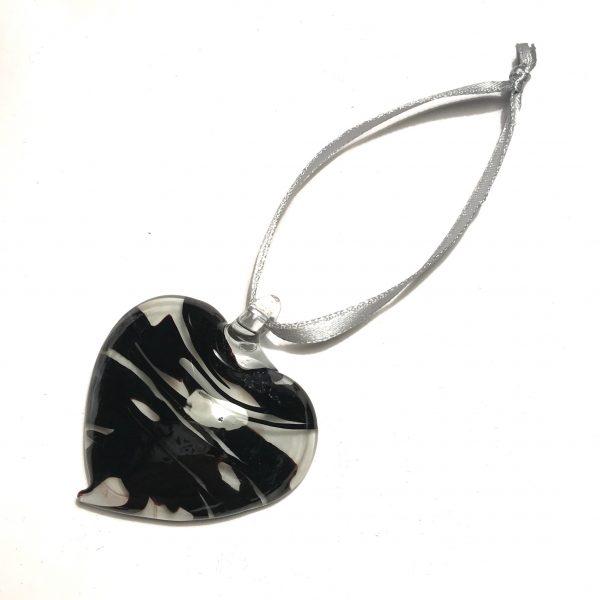 hjerte-sort-grå-sølv-juletrepynt
