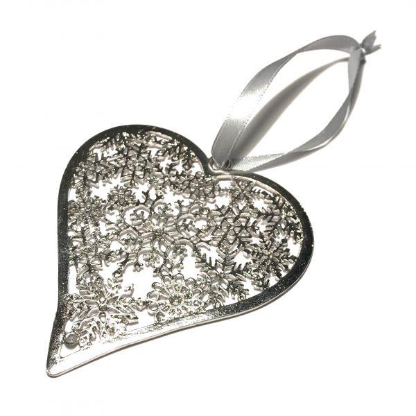 hjerte grå juletrepynt