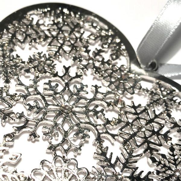 hjerte sølv juletrepynt