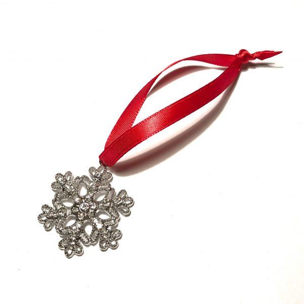 snøkrystall rød juletrepynt