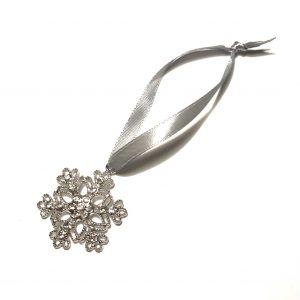 snøkrystall sølv juletrepynt