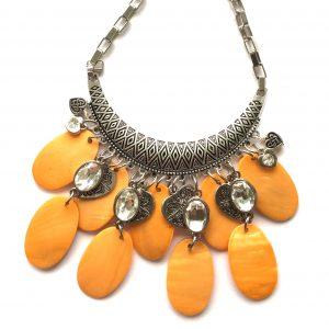 orange-skjell-smykke-halskjede