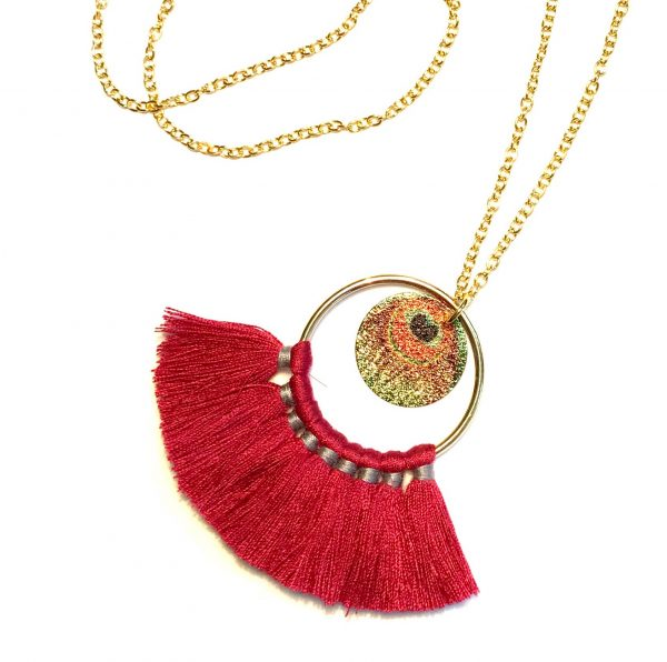bohem-smykke-rød-halskjede