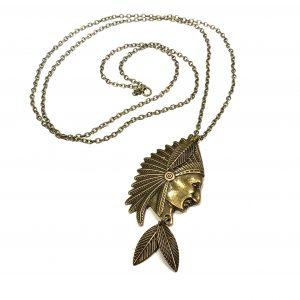 bronse-smykke-indianer-boho-bohem-halskjede