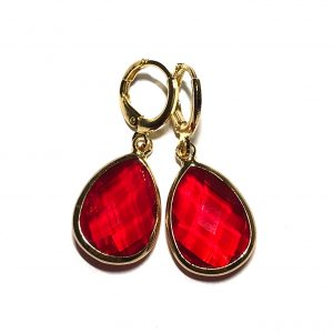 rød-ørepynt-øredobber-øreanheng-gull