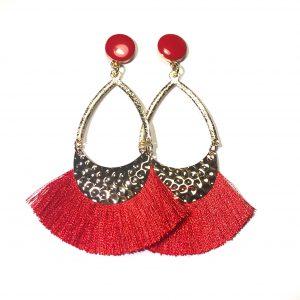 rød-ørepynt-dusk-tassel-øreanheng-øredobber