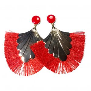 rød-tassel-dusk-ørepynt-øredobber-øreanheng