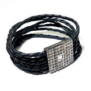 sort-bolo-flettet-armbånd-rhinsten-magnet